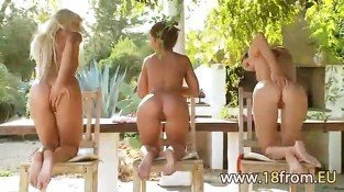 Teen lesbian trio masturbating together