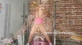 Blonde spreading large her pussy and fucked from behind by large electric toy