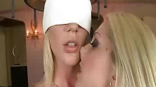 Blonde In Waitress Uniform Watches Girlfriends Do Foreplay