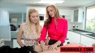 Teen Natalia Starr get a lesson in sucking dick by mom Julia Ann