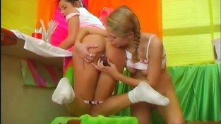 Two teen lesbians with toys