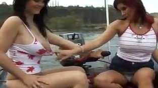 Busty hot lesbians on the river