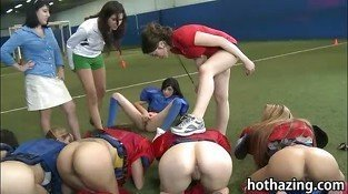 Group of amateur girls naked football and licking each pussies