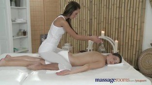 Massage Rooms Two horny girls fill each others holes with multiple fingers