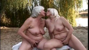 Delightful lesbian grannies fervent pussy fun outdoors