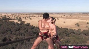 Girls Out West - Hairy lesbian amateurs climb the rock