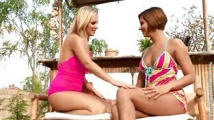 Hot redhead and blonde lesbians kissing and getting naked and having lesbian love