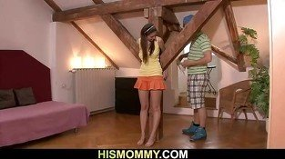 Horny mom finds her son's girlfriend tied up
