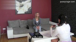 Beautiful teen play on couch