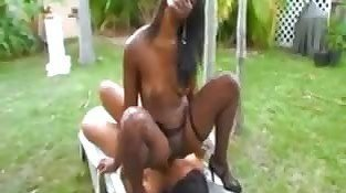 Ebony Sluts Having Fun Outside
