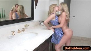 Lia Lor is getting rubbed in the bathroom by her BFs stepmom Brandi