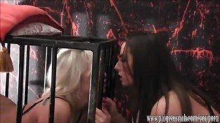 Paige Turnah strapon fucks caged blonde slut making pussy wet and creamy