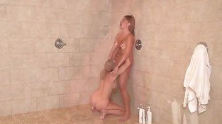 MILF Dykes Out with Kitten in Shower - Cute Breasts