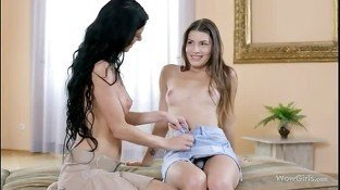 Lustful lesbian teens kissing and oral