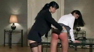 Naughty lesbian gets spanked