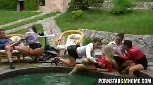 European pornstars having a pool party