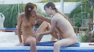 Wet lezzies lickint by the pool