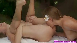 Gorgeous lesbian pussylicked during massage