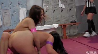 Two hot girls fighting, flirting, and fucking