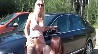 German blonde fisted by her girlfriend outdoor