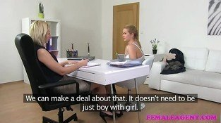 Female Agent Natural busty curvy blonde enjoys casting