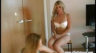 Lesbian babes talk dirty in sexy lingerie tease in stilettos