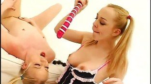 Horny lesbians playing with vibro balls