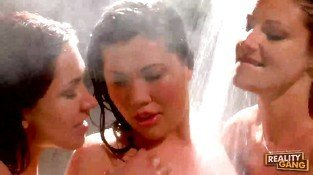 Three brunette lesbian girls licking and toying pussy in the shower
